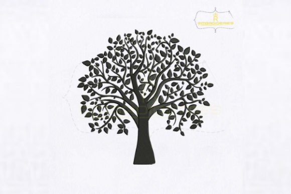 Silhouette Black Tree Forest & Trees Embroidery Design By royalembroideries