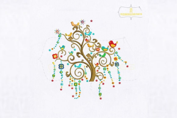 Singing Birds Tree Forest & Trees Embroidery Design By royalembroideries