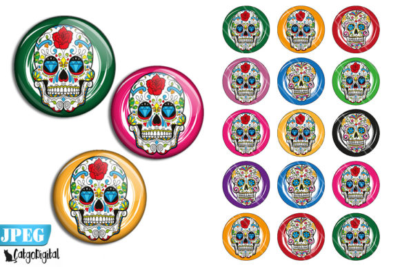 Download Free Sugar Skulls Bottle Cap Images Printable Graphic By Catgodigital for Cricut Explore, Silhouette and other cutting machines.