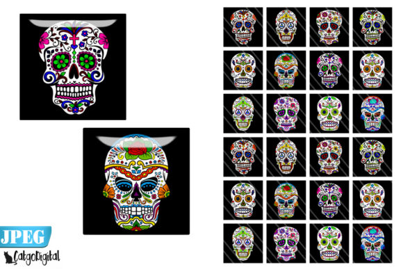 Download Free Sugar Skulls Square Digital Printables Graphic By Catgodigital for Cricut Explore, Silhouette and other cutting machines.