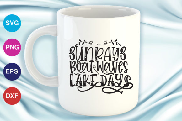 Print on Demand: Sun Rays - Boat Waves - Lake Days Graphic Crafts By OrinDesign