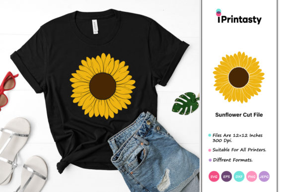 Download Free Sunflower Cut File Graphic By Iprintasty Creative Fabrica for Cricut Explore, Silhouette and other cutting machines.