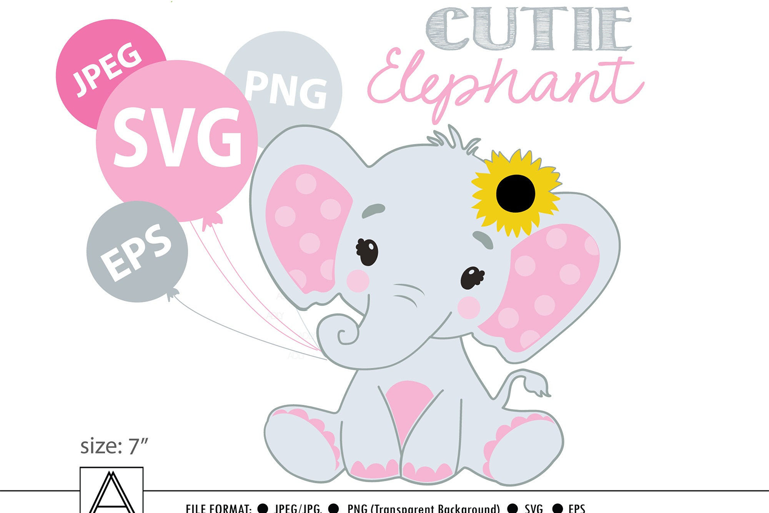 Download Free Sunflower Girl Elephant Vector Graphic By Adlydigital Creative for Cricut Explore, Silhouette and other cutting machines.
