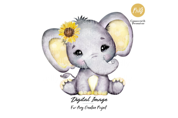 Print on Demand: Sunflower Elephant Watercolor Clip Art Graphic Illustrations By adlydigital