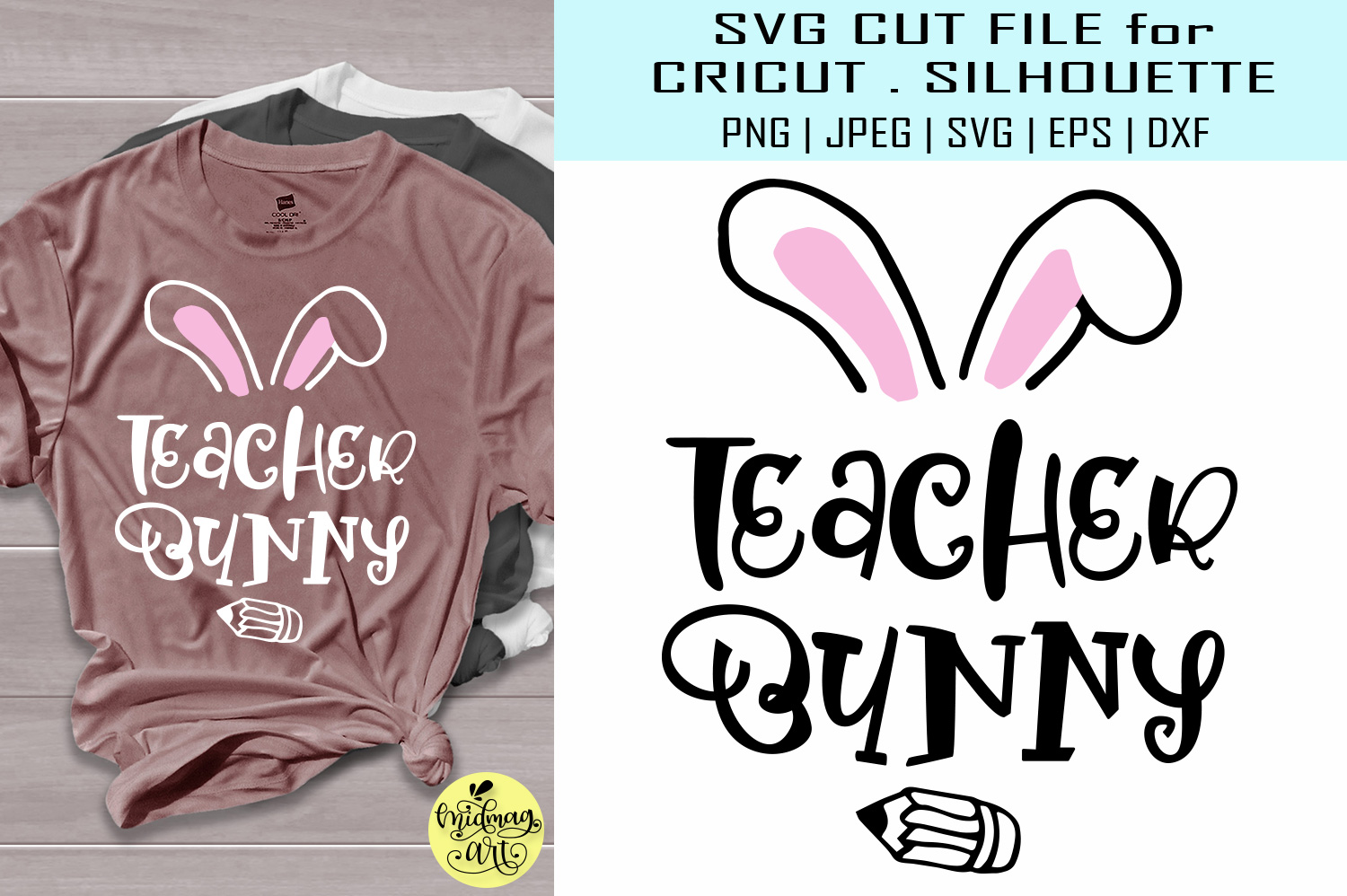 Download Free Teacher Bunny Graphic By Midmagart Creative Fabrica for Cricut Explore, Silhouette and other cutting machines.