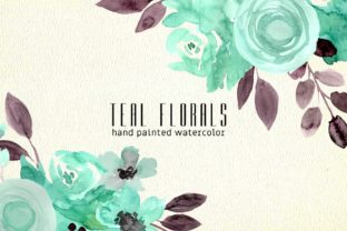 Print on Demand: Teal Florals Watercolor Clipart Graphic Illustrations By roselocket