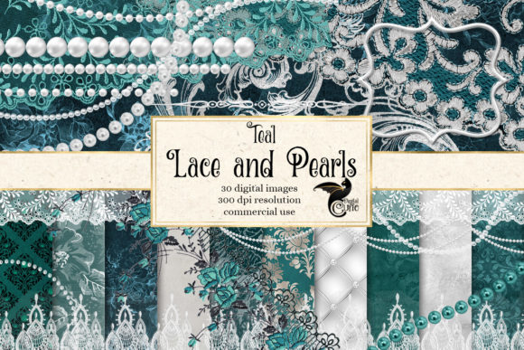 Print on Demand: Teal Lace and Pearls Graphics Gráfico Ilustraciones Por Digital Curio
