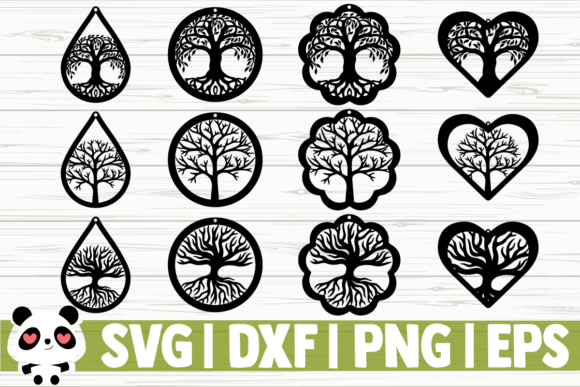 Download Free Tree Of Life Earrings Graphic By Creativedesignsllc Creative for Cricut Explore, Silhouette and other cutting machines.
