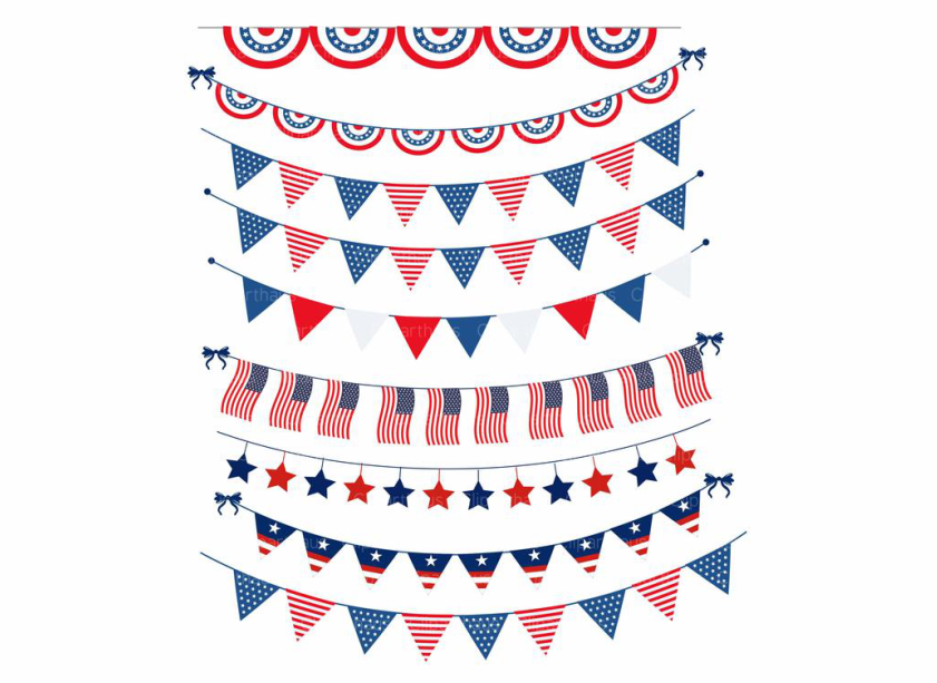 Download Free Usa Bunting Clipart Vector Graphic Graphic By Svg Den Creative for Cricut Explore, Silhouette and other cutting machines.