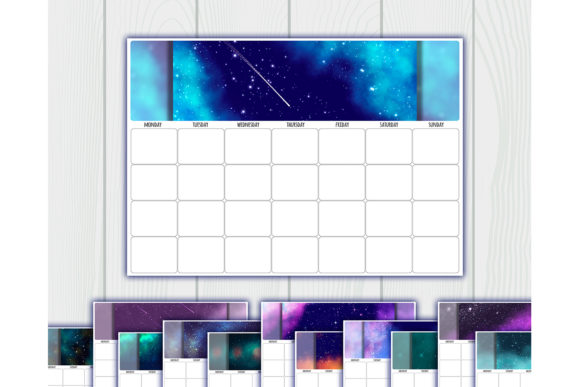 Print on Demand: Undated Printable Calendar Planner Graphic Crafts By bunart - Image 1