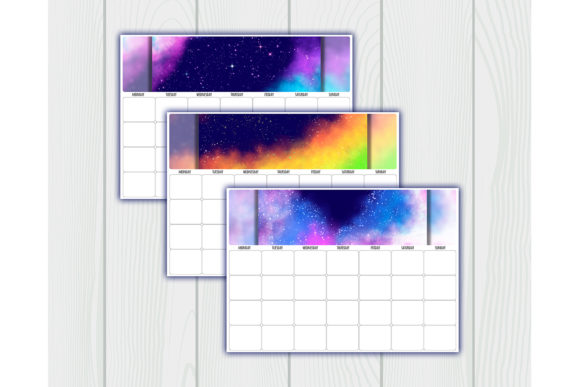 Print on Demand: Undated Printable Calendar Planner Graphic Crafts By bunart - Image 3