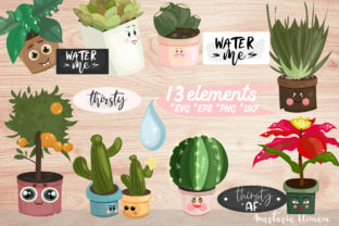 Vector Clipart Set WaterMe Potted Plants Gráfico Objetos Por anes_art