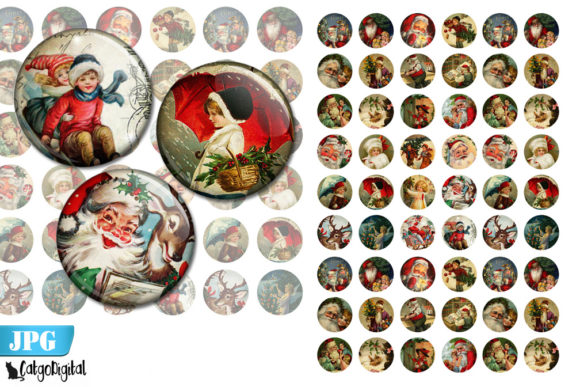 Print on Demand: Vintage Christmas Bottle Cap Images Graphic Crafts By CatgoDigital