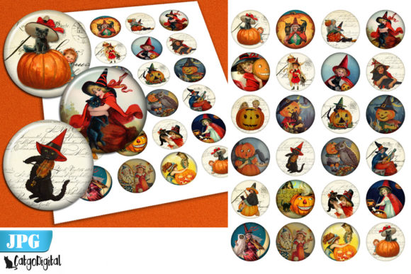 Print on Demand: Vintage Halloween Circle Printable Image Graphic Crafts By CatgoDigital