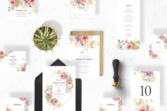 Watercolor Flowers Wedding Suite Graphic Print Templates By Azka Creative - Image 1