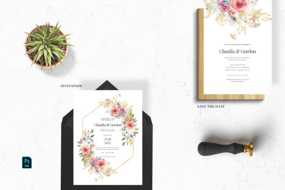 Watercolor Flowers Wedding Suite Graphic Print Templates By Azka Creative - Image 2