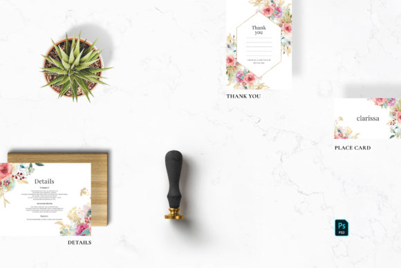 Watercolor Flowers Wedding Suite Graphic Print Templates By Azka Creative - Image 5