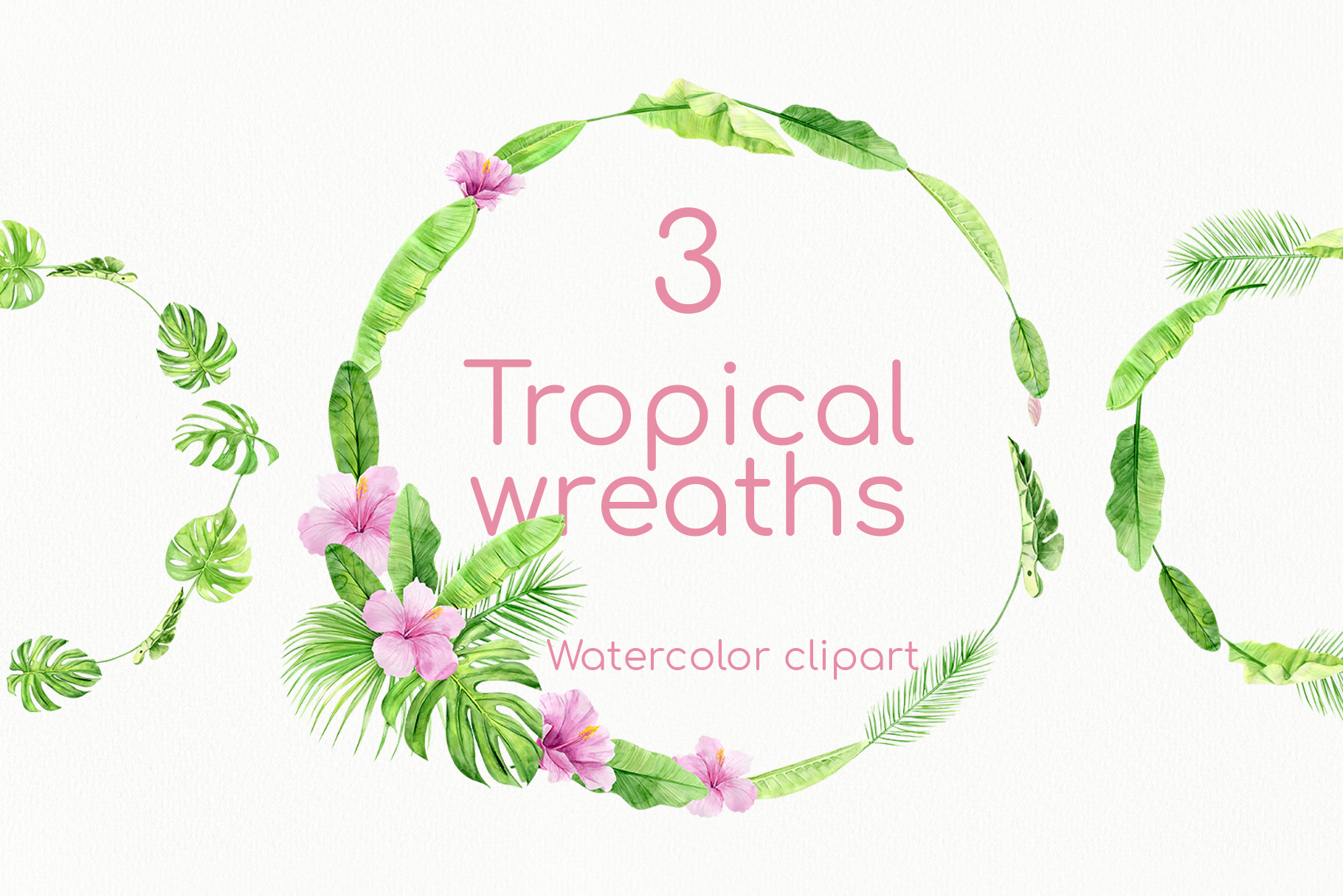 Download Free Watercolor Tropical Summer Floral Wreath Graphic By Natalia for Cricut Explore, Silhouette and other cutting machines.