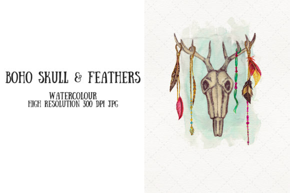 Watercolour Animal Skull & Feathers Boho Graphic Illustrations By My Little Black Heart