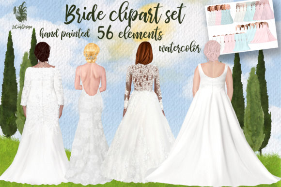 Wedding Dress Clipart Plus Size Brides Graphic Illustrations By LeCoqDesign