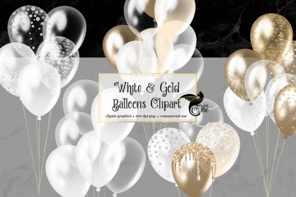 Print on Demand: White and Gold Balloons Clipart Graphic Illustrations By Digital Curio - Image 1
