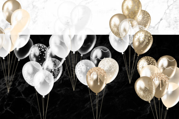 Print on Demand: White and Gold Balloons Clipart Graphic Illustrations By Digital Curio - Image 2