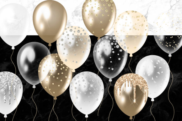 Print on Demand: White and Gold Balloons Clipart Graphic Illustrations By Digital Curio - Image 3