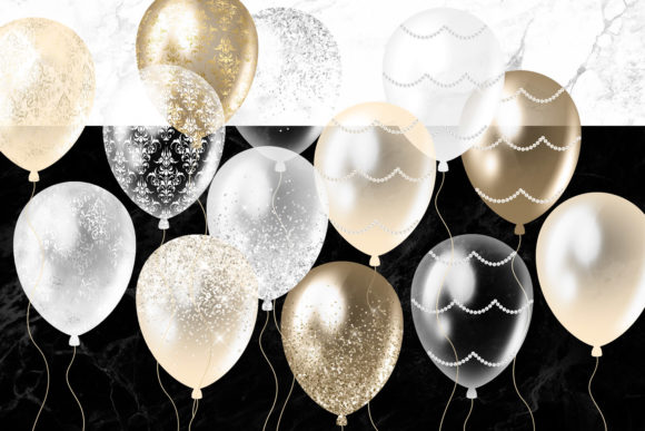 Print on Demand: White and Gold Balloons Clipart Graphic Illustrations By Digital Curio - Image 4