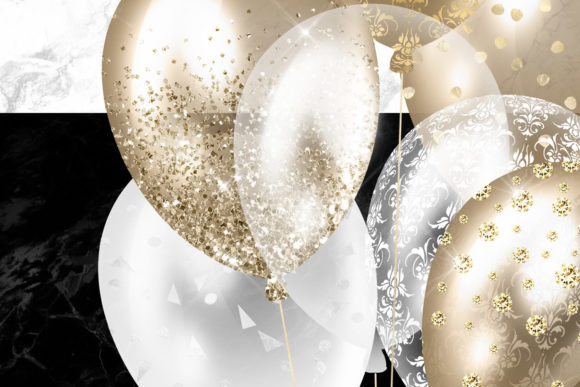 Print on Demand: White and Gold Balloons Clipart Graphic Illustrations By Digital Curio - Image 5