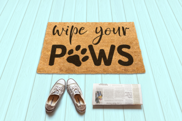 Wipe Your Paws Doormat Graphic Crafts By RisaRocksIt