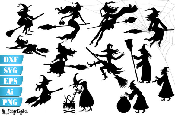 Download Free Witch Silhouettes Witch Clip Art Graphic By Catgodigital for Cricut Explore, Silhouette and other cutting machines.
