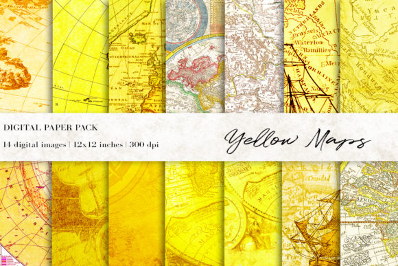 Yellow Maps Digital Papers Graphic Backgrounds By BonaDesigns