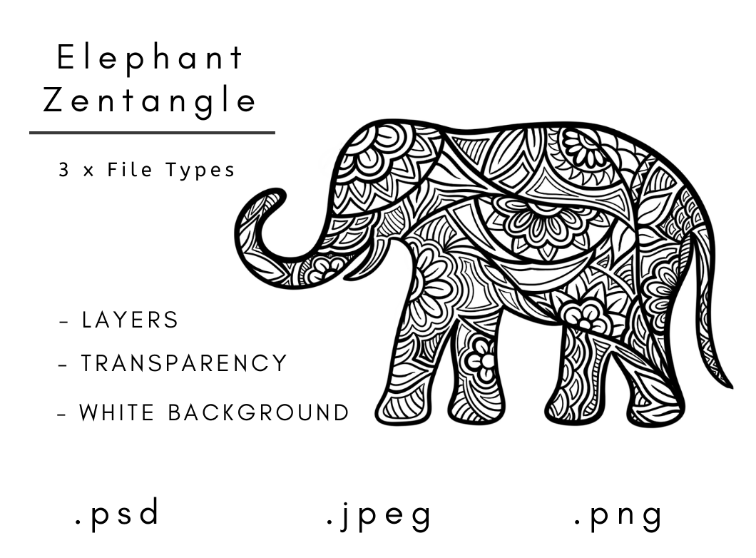 Download Free Zentangle Elephant Graphic By Linnypig Designs Creative Fabrica for Cricut Explore, Silhouette and other cutting machines.