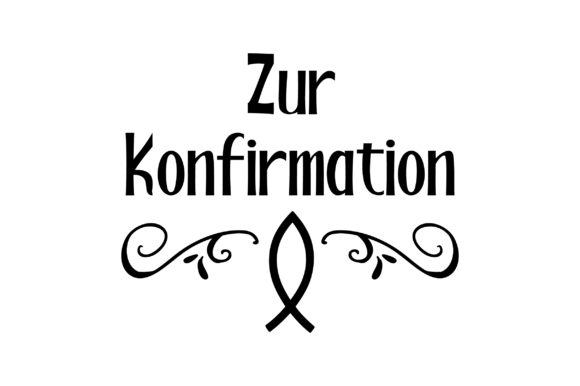 Zur Konfirmation - with a Fish Germany Craft Cut File By Creative Fabrica Crafts