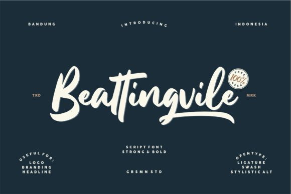 Print on Demand: Beattingvile Script & Handwritten Font By Creative Fabrica Freebies