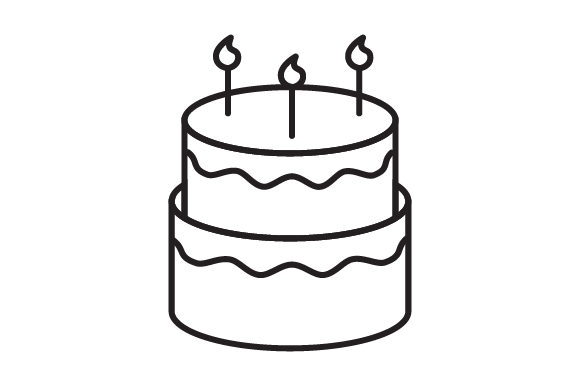 Download Free Birthday Cake Line Icon Logo Design Graphic By Graphicrun123 for Cricut Explore, Silhouette and other cutting machines.