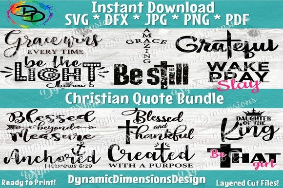 Christian Quote Bundle Graphic Crafts By dynamicdimensions