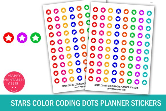 Print on Demand: Cute Stars Color Coding Dot Planner Stickers Graphic Crafts By Happy Printables Club