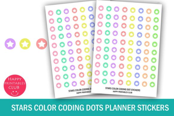 Download Free Cute Stars Color Coding Dot Stickers Graphic By Happy Printables for Cricut Explore, Silhouette and other cutting machines.