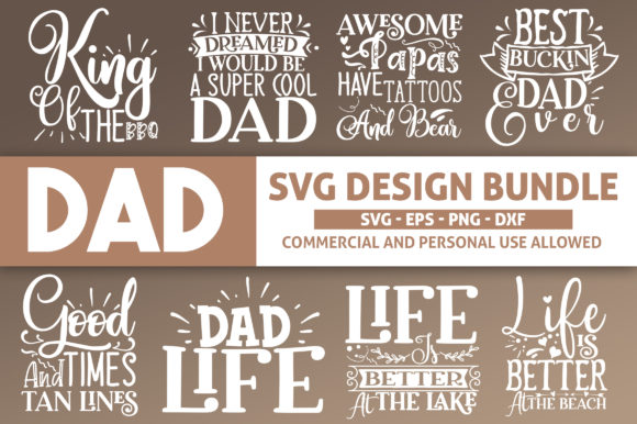 Download Free Dad Design Bundle Graphic By Subornastudio Creative Fabrica for Cricut Explore, Silhouette and other cutting machines.