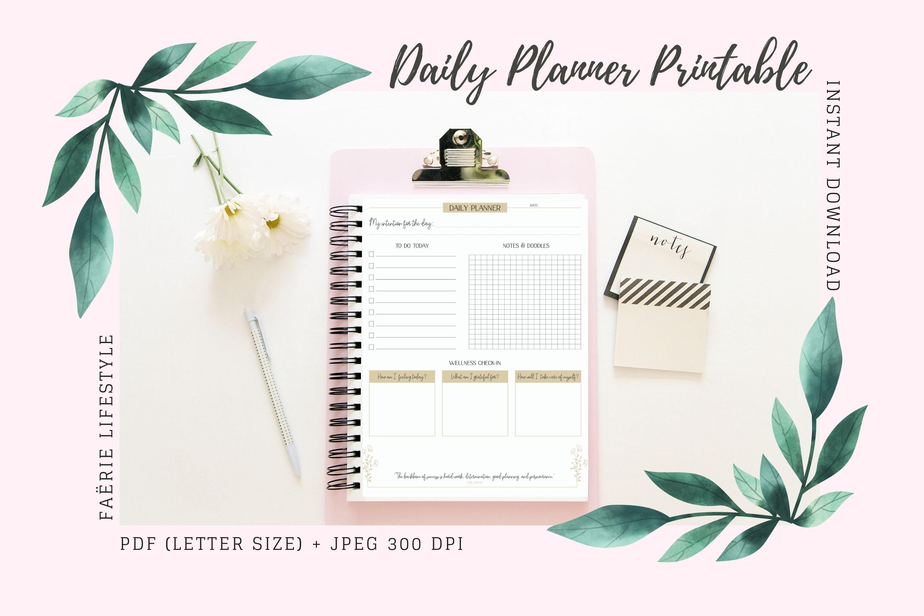 Download Free Daily Planner Printable Graphic By Faerie Lifestyle Creative for Cricut Explore, Silhouette and other cutting machines.