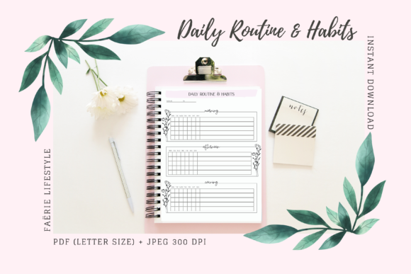 Print on Demand: Daily Routine and Habits Planner Graphic Print Templates By Faërie Lifestyle