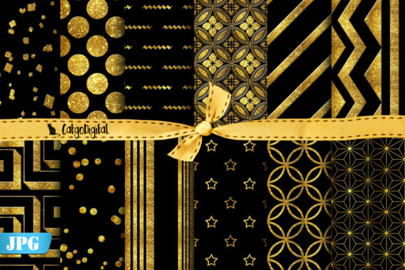 Print on Demand: Gold and Black Digital Papers Elegant Graphic Patterns By CatgoDigital