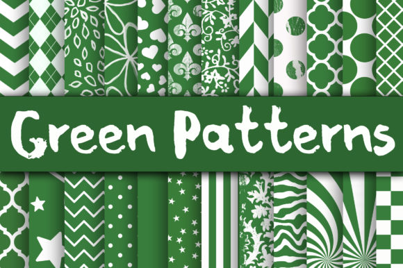 Print on Demand: Green Patterns Digital Paper Graphic Backgrounds By oldmarketdesigns