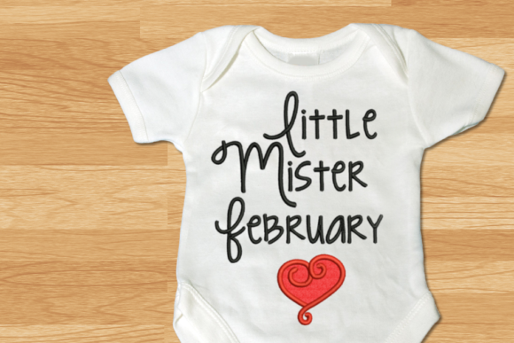 Little Mister February Heart Applique Valentine's Day Embroidery Design By DesignedByGeeks