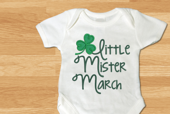 Little Mister March Clover Applique St Patrick's Day Embroidery Design By DesignedByGeeks