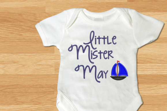 Little Mister May Sailboat Applique Beach & Nautical Embroidery Design By DesignedByGeeks