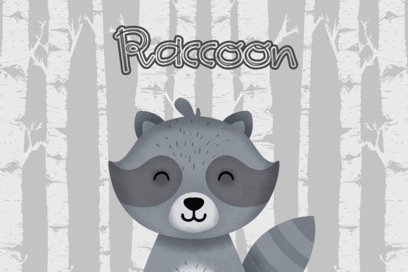 Print on Demand: Raccoon Nursery Art, Woodland Animal Graphic Illustrations By accaliadigital