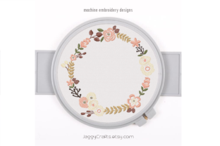 Print on Demand: Small Floral Wreath for Monogram Frame Floral Wreaths Embroidery Design By JaggyCrafts Embroidery Designs