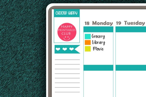 Download Free Square Color Coding Dot Planner Sticker Graphic By Happy for Cricut Explore, Silhouette and other cutting machines.